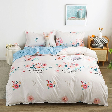 wholesale pink flower printing white bedding four-piece set nihaojewelry  NHGAD403109's discount tags