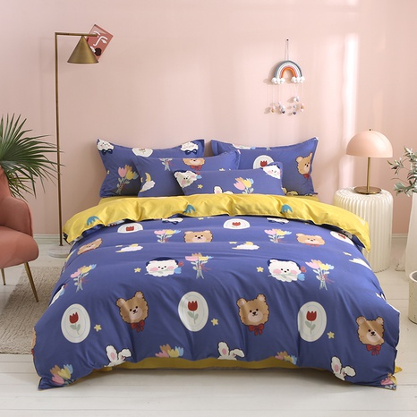 wholesale cartoon bear color flower printing bedding four-piece set nihaojewelry  NHGAD403108's discount tags