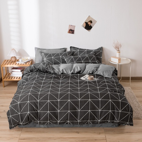 wholesale rhombus plaid printing bedding four-piece set nihaojewelry  NHGAD403107's discount tags