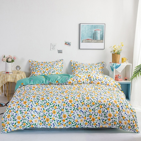 wholesale yellow floral printed bedding four-piece set nihaojewelry  NHGAD403524's discount tags