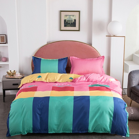 wholesale contrast color plaid printed bedding four-piece set nihaojewelry  NHGAD403523's discount tags