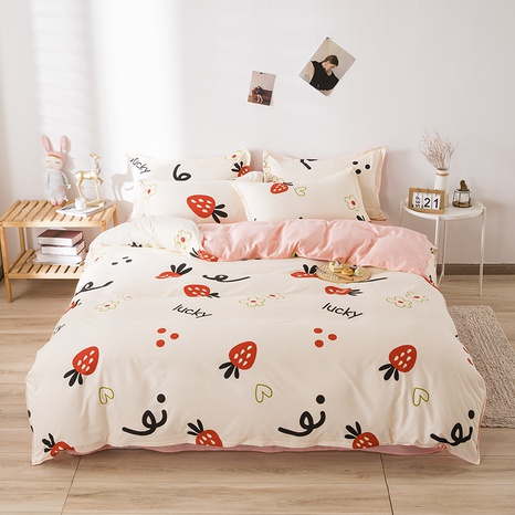 wholesale cartoon fruit strawberry letter printed bedding four-piece set nihaojewelry  NHGAD403518's discount tags