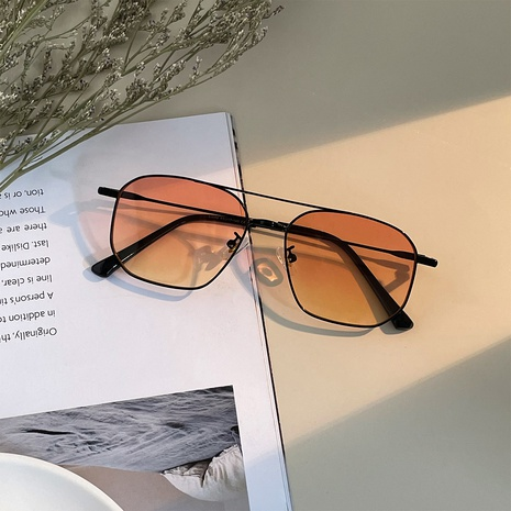 simple fashion metal double beam solid color sunglasses wholesale nihaojewelry NHXU403252's discount tags