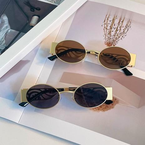 fashion retro oval metal frame color sunglasses wholesale nihaojewelry NHXU403254's discount tags