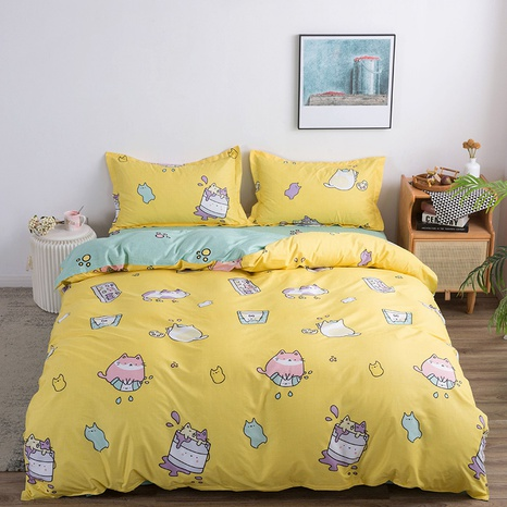 wholesale cute cartoon cat pattern printed bedding four-piece set nihaojewelry  NHGAD403519's discount tags