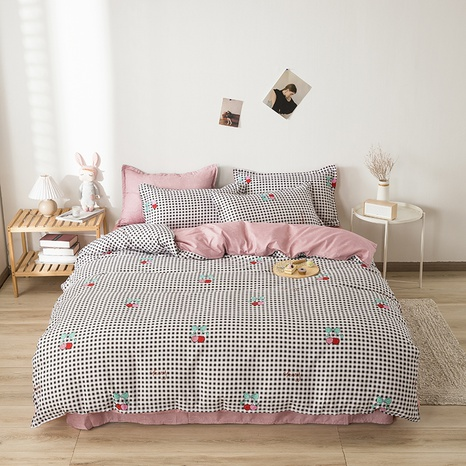 wholesale fruit cherry plaid printed bedding four-piece set nihaojewelry  NHGAD403520's discount tags