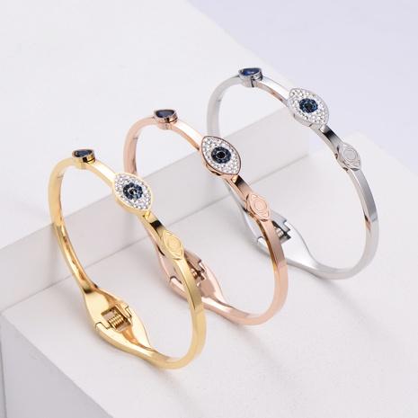 Pulsera coreana de mal de ojo de acero inoxidable de moda simple al por mayor nihaojewelry NHON403317's discount tags