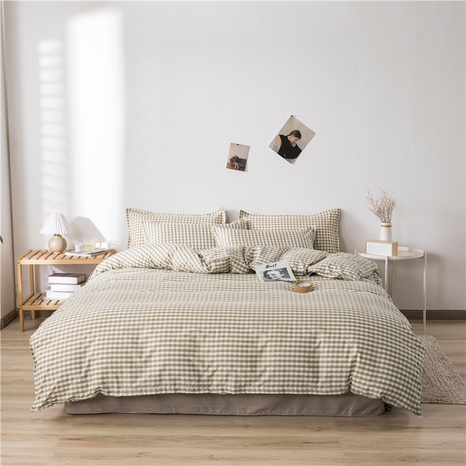 wholesale light tan plaid printed bedding four-piece set nihaojewelry  NHGAD403515's discount tags