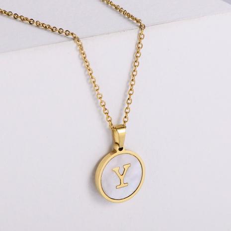 Collar de medalla de concha de 26 letras de acero inoxidable simple al por mayor Nihaojewelry NHON403351's discount tags