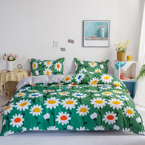 wholesale small daisy printed green bedding four-piece set nihaojewelry  NHGAD403512's discount tags