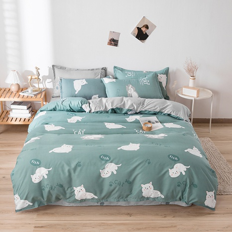 wholesale small white cat printed bedding four-piece set nihaojewelry  NHGAD403508's discount tags