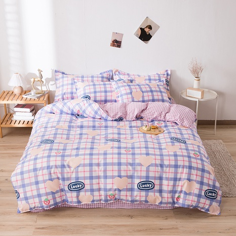 wholesale heart letter plaid printed bedding four-piece set nihaojewelry  NHGAD403501's discount tags