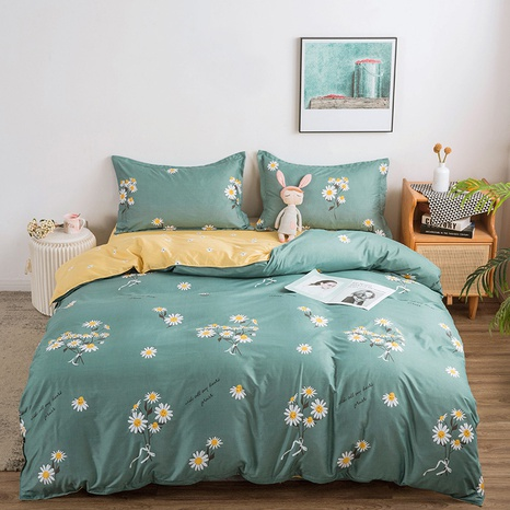 wholesale small daisy printed green bedding four-piece set nihaojewelry  NHGAD403503's discount tags