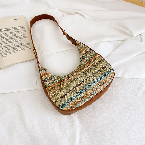 retro clashing color woven straw one-shoulder armpit bag wholesale Nihaojewelry NHRU403530's discount tags