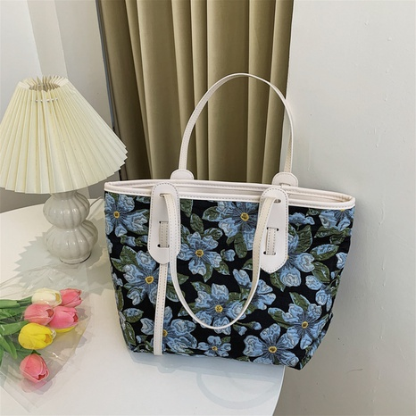 Koreanische einfache Kontrastfarbe Blume große Kapazität Leinwand Einkaufstasche Großhandel nihaojewelry NHGN403691's discount tags