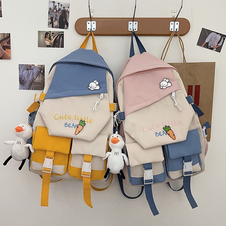 Mode Cartoon Kontrastfarbe Doppeltasche Studenten Rucksack Großhandel nihaojewelry NHTW403815's discount tags