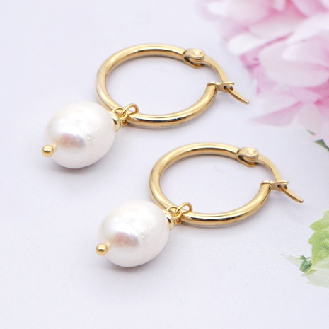 simple pearl stainless steel circle earrings wholesale Nihaojewelry NHYUX403908's discount tags