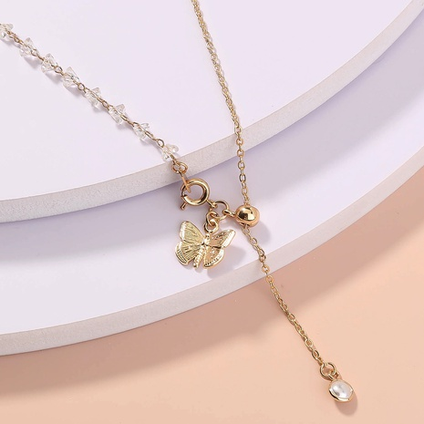 wholesale jewelry white crystal tassel butterfly pendant necklace nihaojewelry  NHDB404025's discount tags