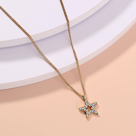 wholesale jewelry diamond-studded five-pointed star pendant necklace nihaojewelry  NHDB404036's discount tags