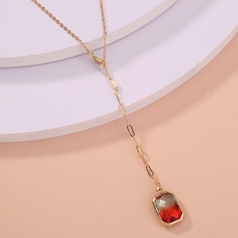 wholesale jewelry stitching chain square red crystal pendant necklace nihaojewelry  NHDB404037's discount tags