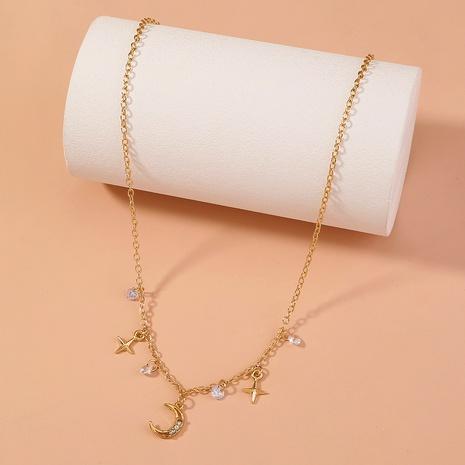 wholesale jewelry diamond-studded moon pendant star tassel necklace nihaojewelry  NHDB404038's discount tags