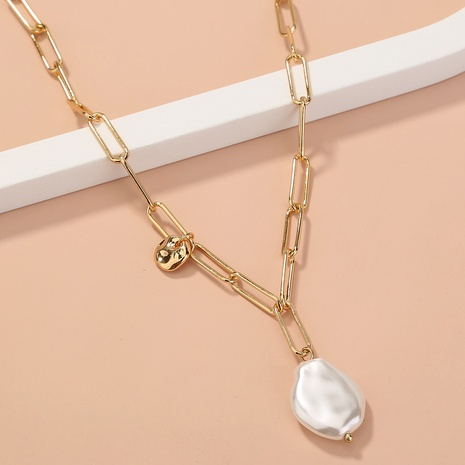 wholesale jewelry special-shaped flat pearl pendant necklace nihaojewelry  NHDB404040's discount tags