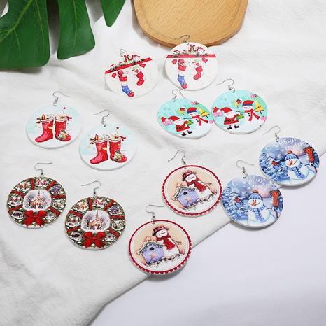 Christmas log snowman socks printing ear hook set wholesale Nihaojewelry NHMO404104's discount tags