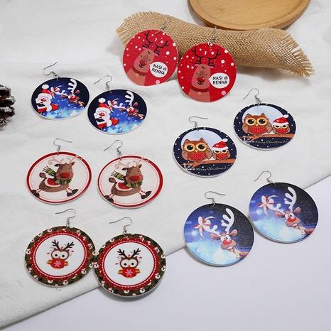 Christmas Round Wooden Elk Santa Print Earrings Set Wholesale Nihaojewelry NHMO404110's discount tags