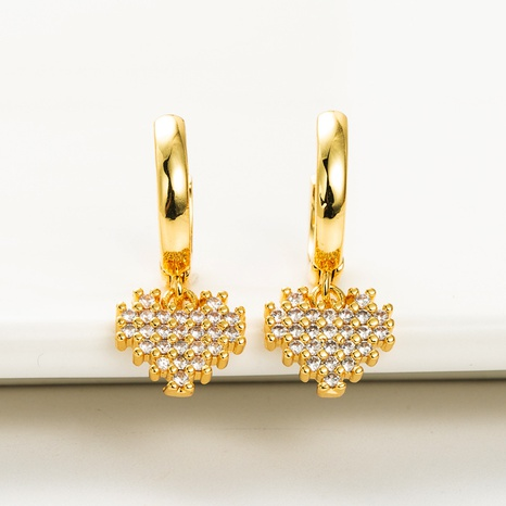 fashion heart-shaped copper micro-inlaid zircon gold-plated earrings wholesale Nihaojewelry NHLN404298's discount tags