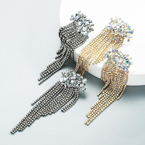 fashion full diamond claw chain tassel long earrings wholesale Nihaojewelry NHLN404300's discount tags