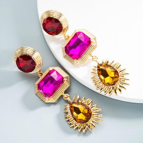 retro geometric color diamond long earrings wholesale Nihaojewelry NHLN404302's discount tags