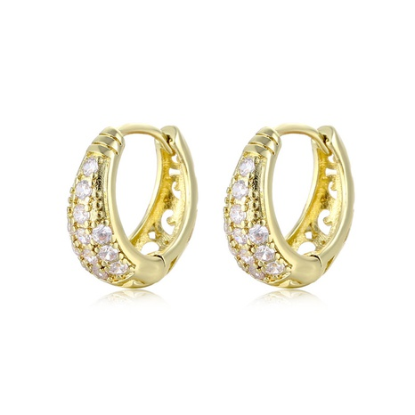 wholesale jewelry retro C-shaped copper inlaid zircon earrings nihaojewelry  NHAC404362's discount tags
