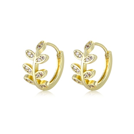 wholesale jewelry hollow leaf copper inlaid zircon earrings nihaojewelry  NHAC404363's discount tags