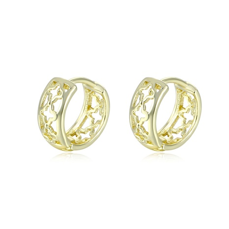 wholesale jewelry hollow four-leaf clover copper earrings nihaojewelry  NHAC404365's discount tags