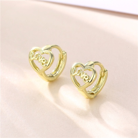 wholesale jewelry hollow heart-shaped letter copper earrings nihaojewelry  NHAC404370's discount tags