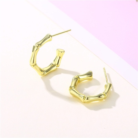 wholesale jewelry C-shaped bamboo copper stud earrings nihaojewelry  NHAC404371's discount tags