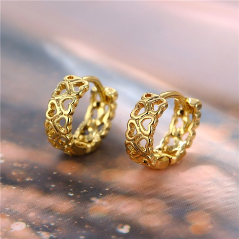 wholesale jewelry hollow heart splicing copper earring nihaojewelry  NHAC404375's discount tags