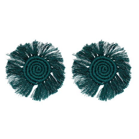 round geometric hand-woven hairy tassel earrings wholesale jewelry Nihaojewelry NHJJ404395's discount tags