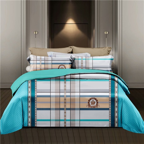 wholesale hit color plaid badge printing bedding four-piece set nihaojewelry  NHDYJ404498's discount tags