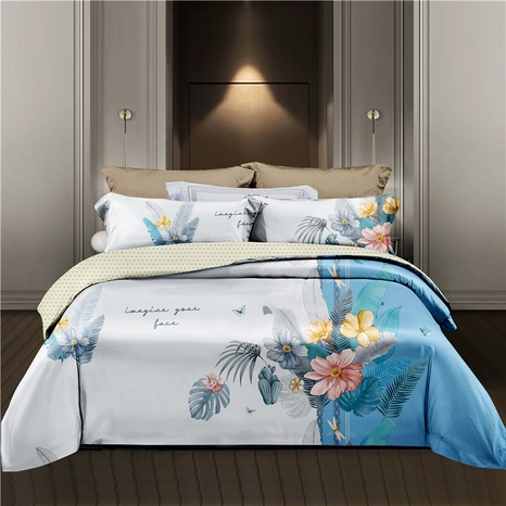wholesale hit color flower chain printing blue bedding four-piece set nihaojewelry  NHDYJ404499's discount tags