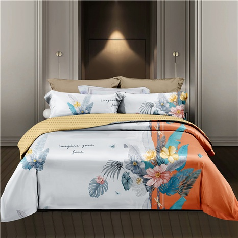 wholesale hit color flower chain printing orange bedding four-piece set nihaojewelry  NHDYJ404496's discount tags
