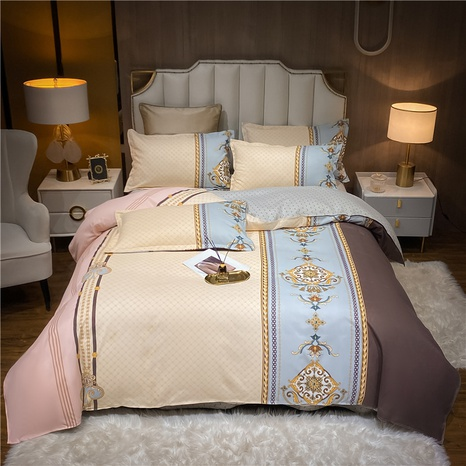 wholesale contrast color geometric pattern printing bedding four-piece set nihaojewelry  NHDYJ404495's discount tags
