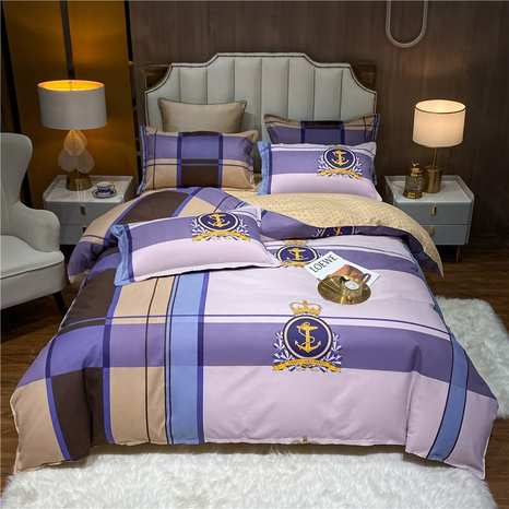 wholesale plaid stripe anchor pattern badge printing bedding four-piece set nihaojewelry  NHDYJ404493's discount tags