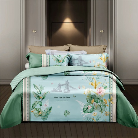 wholesale plant leaves flower printing green bedding four-piece set nihaojewelry  NHDYJ404490's discount tags