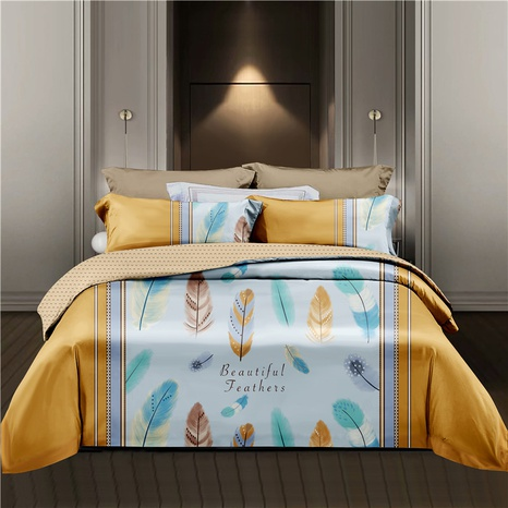 feather brushed large printing bedding four-piece set wholesale  NHDYJ404488's discount tags