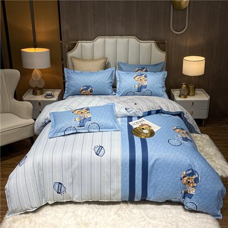 wholesale stripe bear doll pattern printing bedding four-piece set nihaojewelry  NHDYJ404487's discount tags