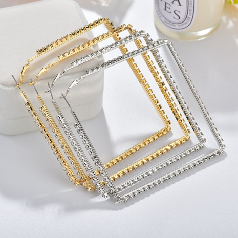 wholesale jewelry punk style hollow square full diamond earrings nihaojewelry  NHBQ404900's discount tags