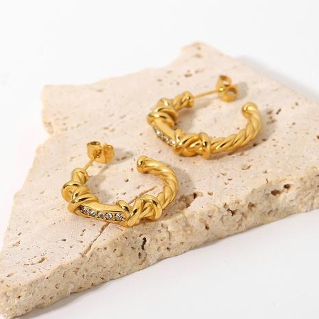 fashion 18K gold stainless steel diamond twist C-shaped earrings wholesale Nihaojewelry  NHJIE404513's discount tags