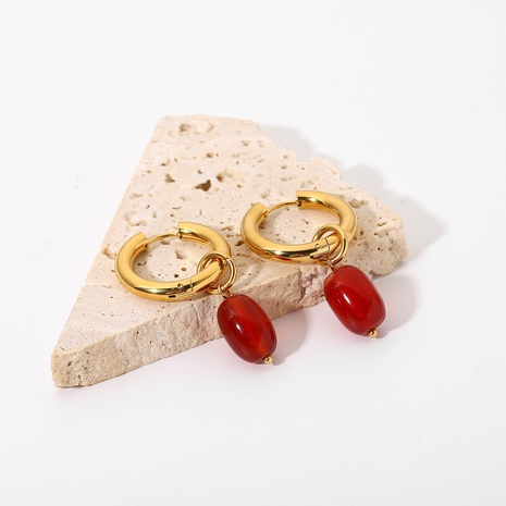 fashion double-layer gold-plated red agate pendant earrings wholesale Nihaojewelry  NHJIE404514's discount tags
