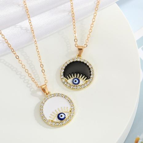 fashion black and white eyes diamond round pendant necklace wholesale Nihaojewelry NHGO404543's discount tags